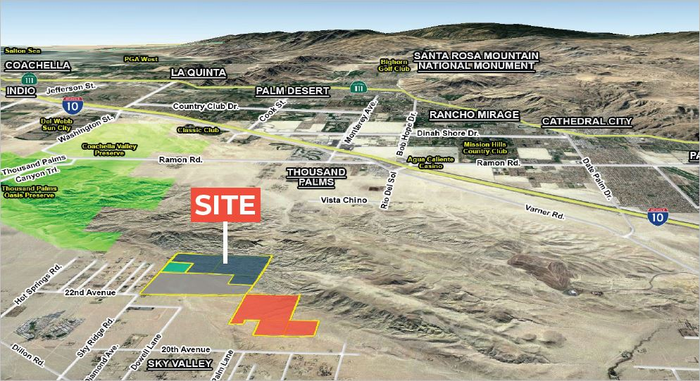an aerial photo with landmarks and the site location for 320 acres of land in dillon road & sky ridge road in sky valley california