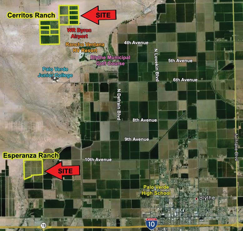a map that shows the location of 486 acres farmground for sale in cerritos and esperanza ranch blythe california