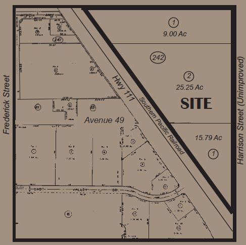 a plat map of 50 acres farmground for lease in harrison and avenue 48 coachella california