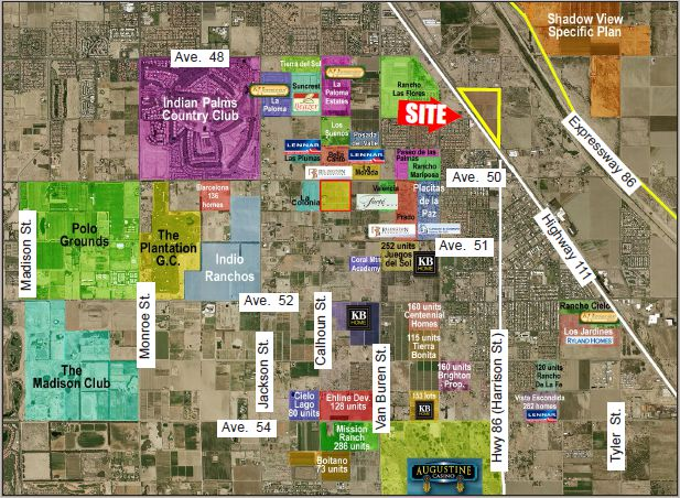 a zoomed out map showing the location of 50 acres farmground for lease in harrison and avenue 48 coachella california