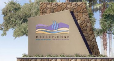 a photo of a signage for desert edge 52368 sf proposed cannabis facility on 38.97 acres