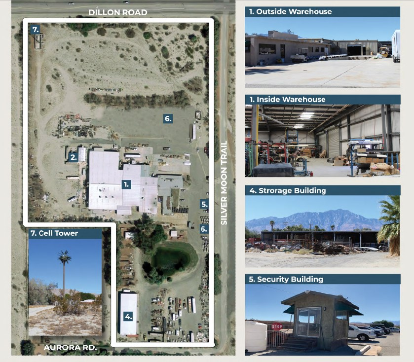 a photo collage showing the features of 52368 sf proposed cannabis facility on 38.97 acres