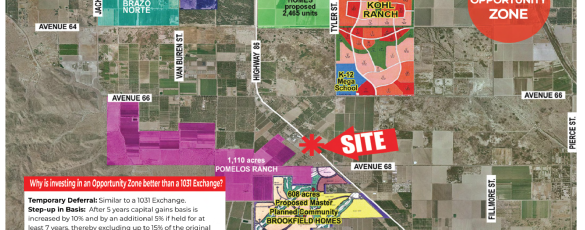 an aerial view with nearby landmarks for 58.45 acres ranch for sale in north of avenue 68 and west of harrison street in oasis california