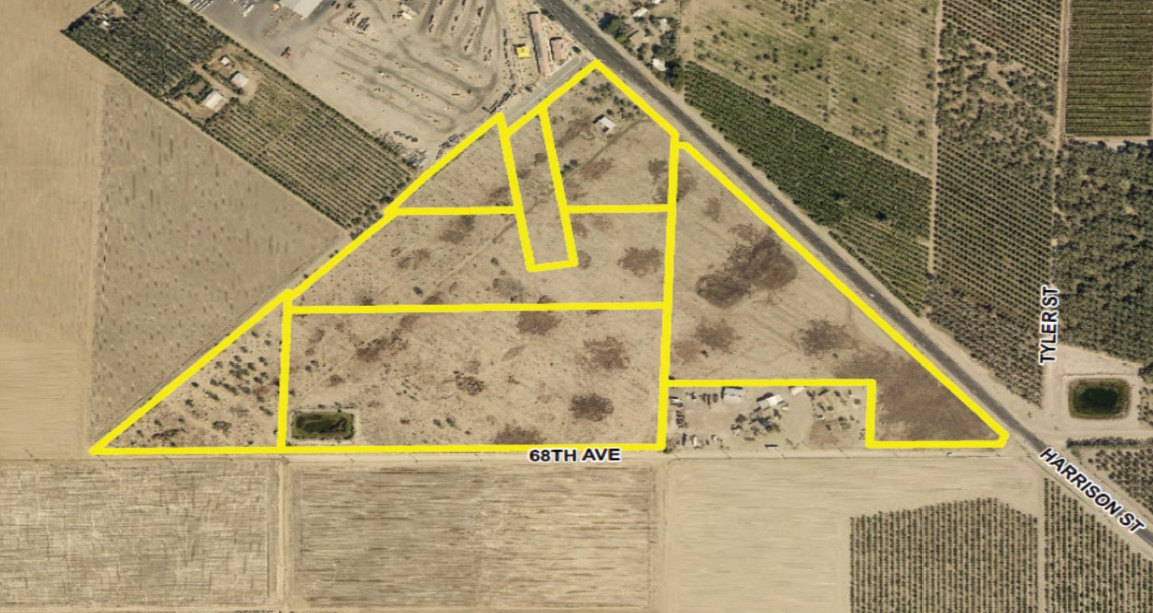 a zoomed in aerial of a 58.45 acres ranch for sale in north of avenue 68 and west of harrison street in oasis california
