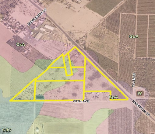 a plat map of a 58.45 acres ranch for sale in north of avenue 68 and west of harrison street in oasis california