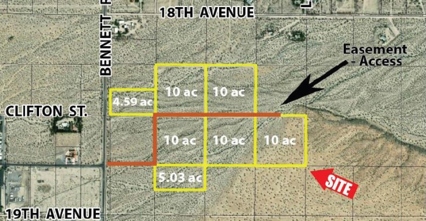 a map with plat acreage and area description near the 59.62 acres land in bennet road sky valley california
