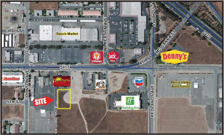 a map that shows location of 0.61 commercial pad for 4th street and interstate 215 perris california