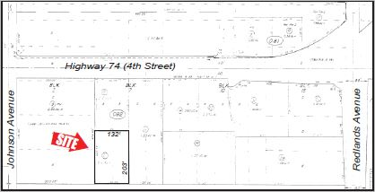 a plat map of a 0.61 commercial pad for 4th street and interstate 215 perris california