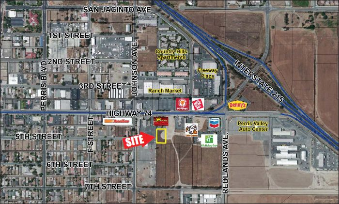 a zoomed out map that shows location of 0.61 commercial pad for 4th street and interstate 215 perris california