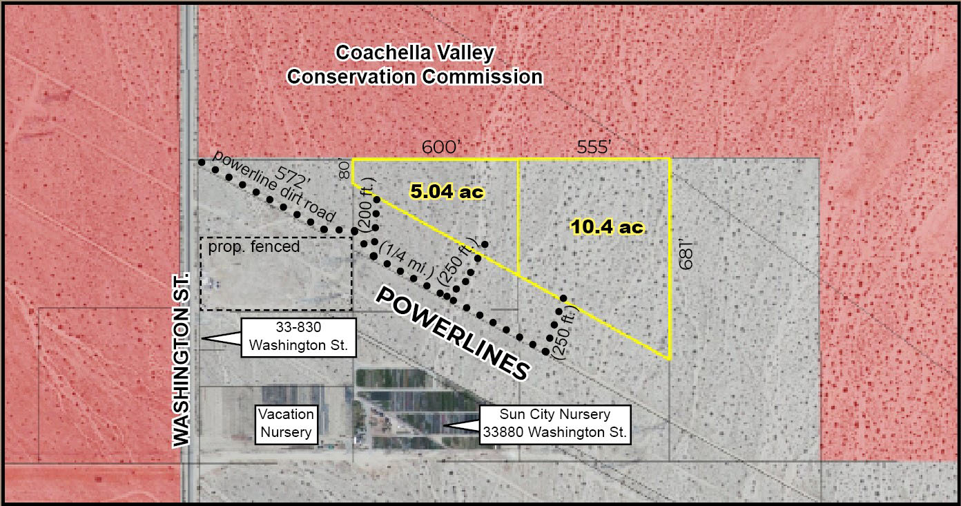 zoomed in plat map for 15.44 acres ranch land for sale in washington street indio california