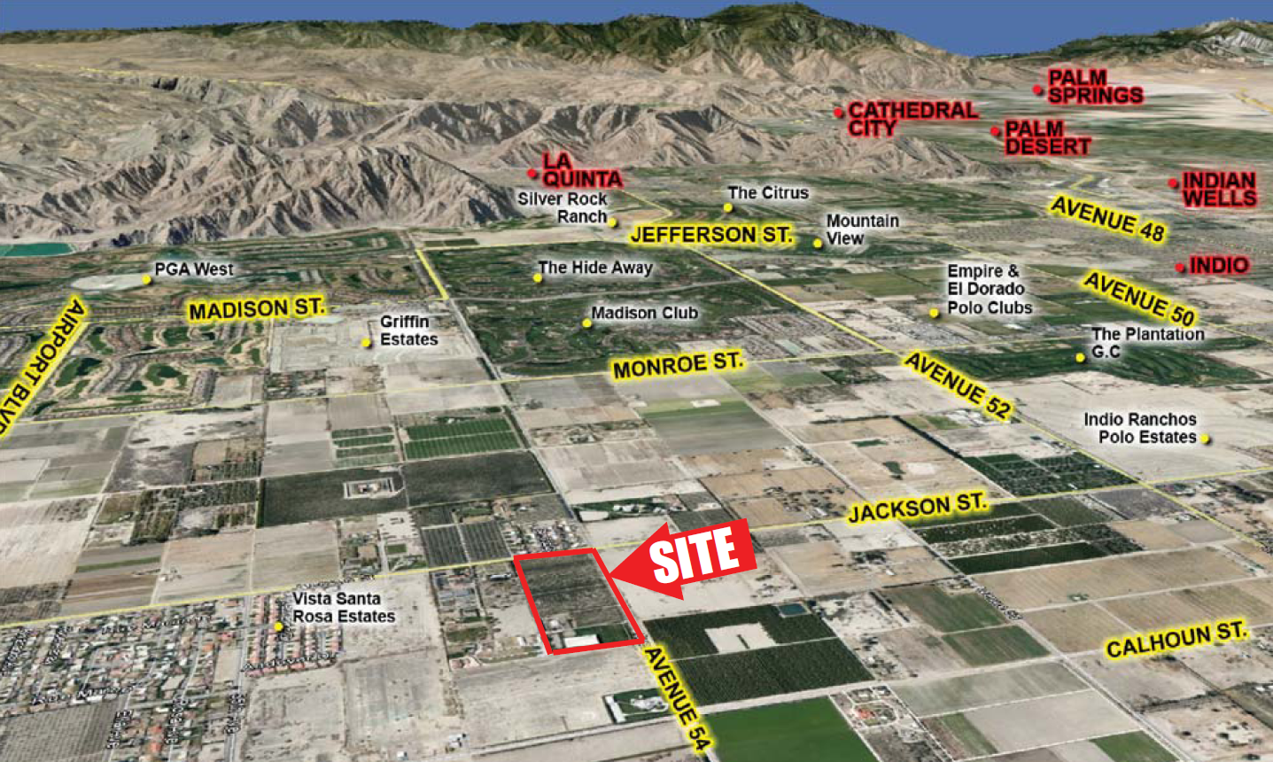 aerial map of 18.39 acres land for sale in avenue 54 and jackson street vista santa rosa california