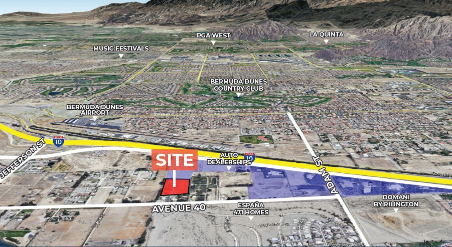 aerial map of 6.85 acres land for sale avenue 40 and east of adams street indio california