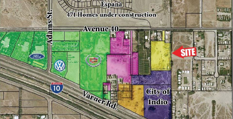 zoomed in aerial map of 6.85 acres land for sale avenue 40 and east of adams street indio california
