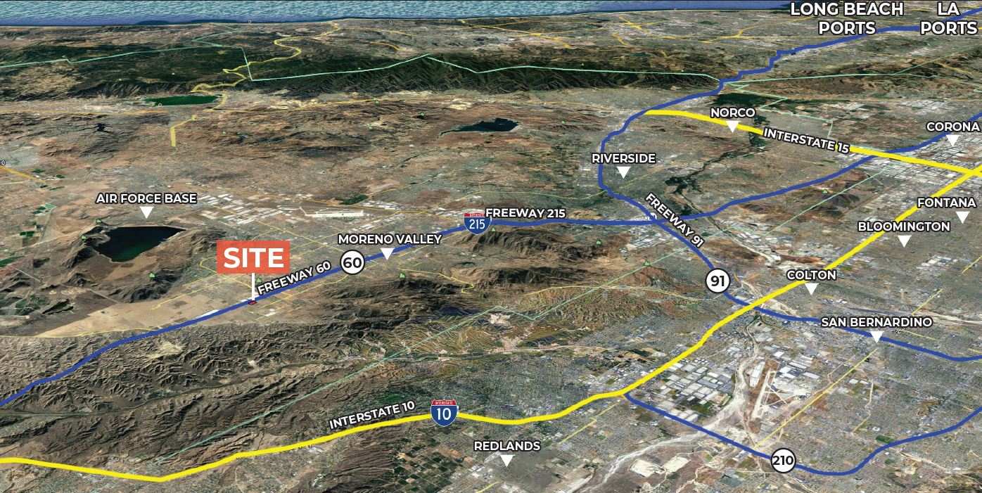 zoomed out aerial of the moreno valley area and nearby landmarks