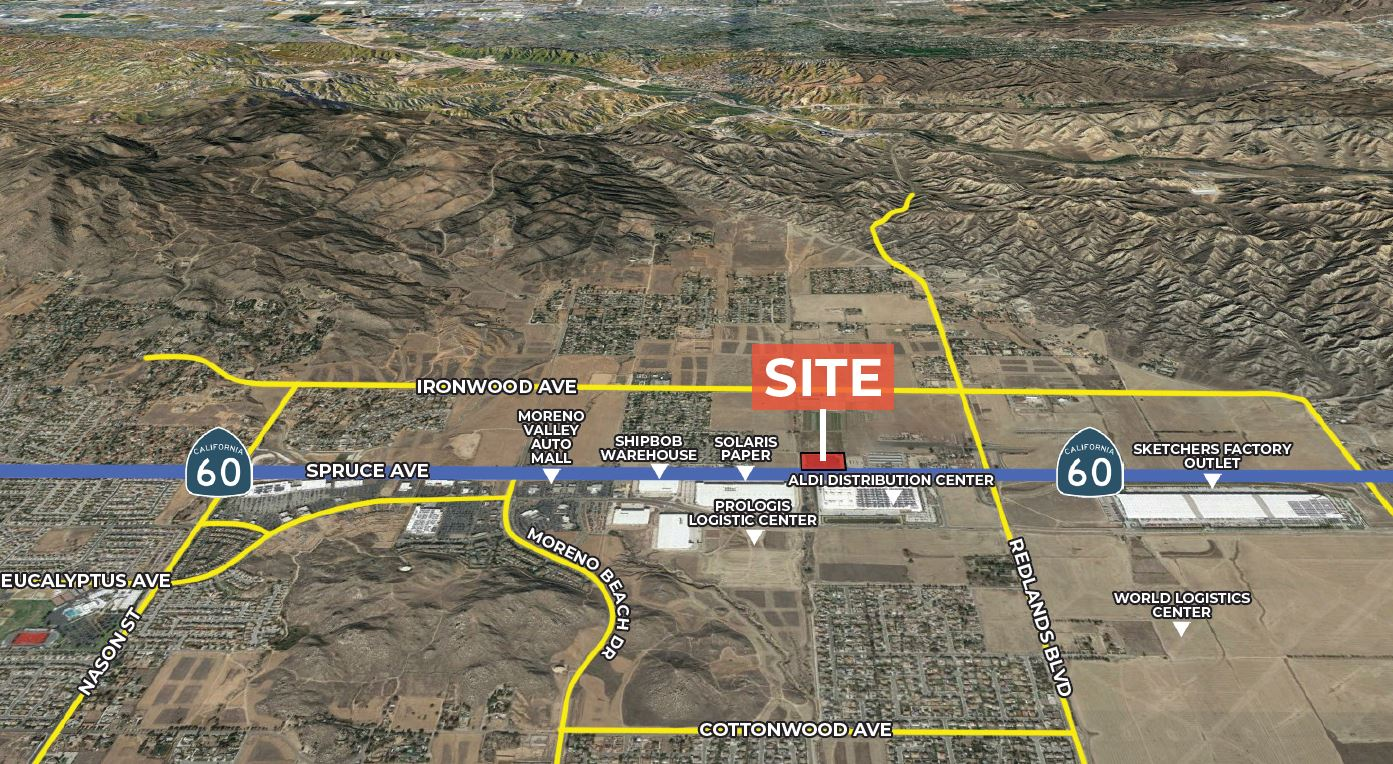 aerial site map for spruce avenue and 60 freeway moreno valley california