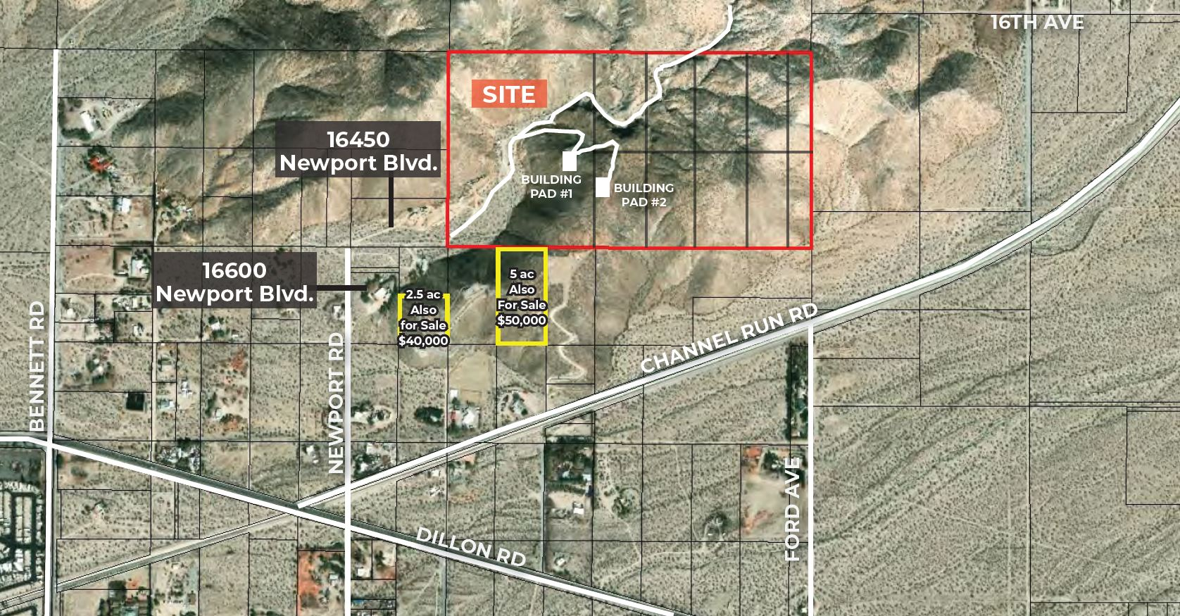 zoomed in aerial of 74.19 acres exclusive hilltop retreat at new port road sky valley california