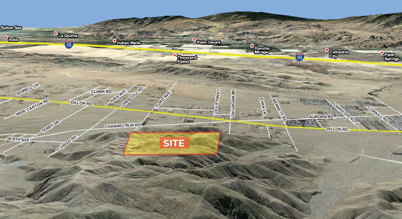 aerial map of land for sale at north dillon road sky valley california