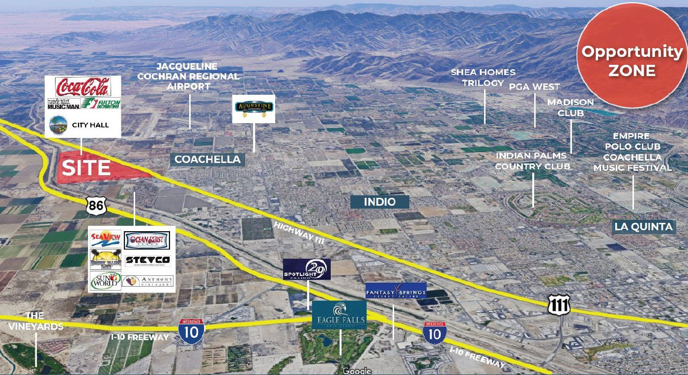 aerial map of 164 acres industrial land for sale at enterprise way and avenue 54 coachella ca