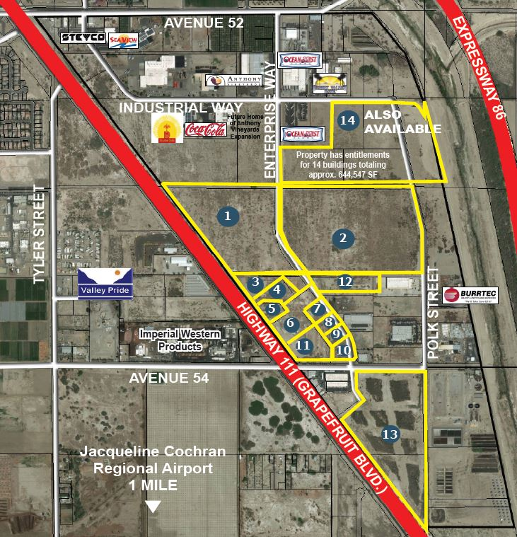 site map of 164 acres industrial land for sale at enterprise way and avenue 54 coachella ca