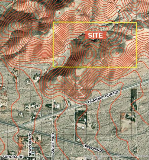 topo map of land for sale at north dillon road sky valley california