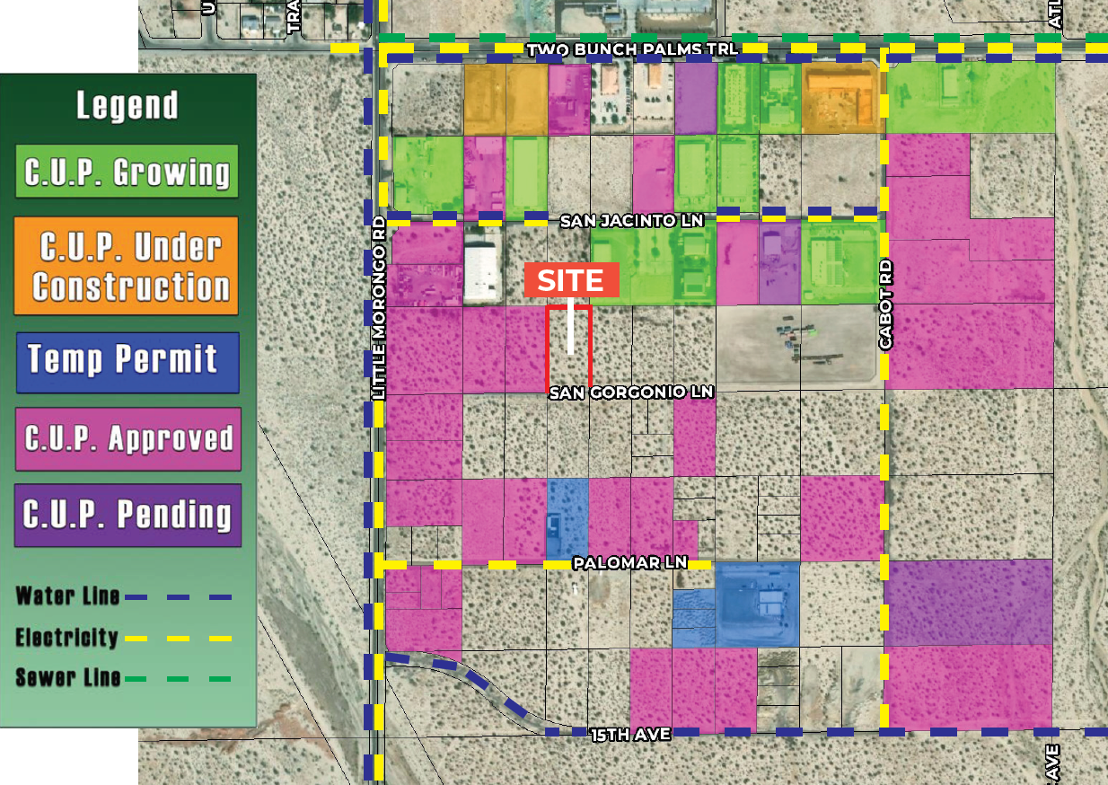 site map of 1.26 ac land for sale at north san gorgonio desert hot springs california