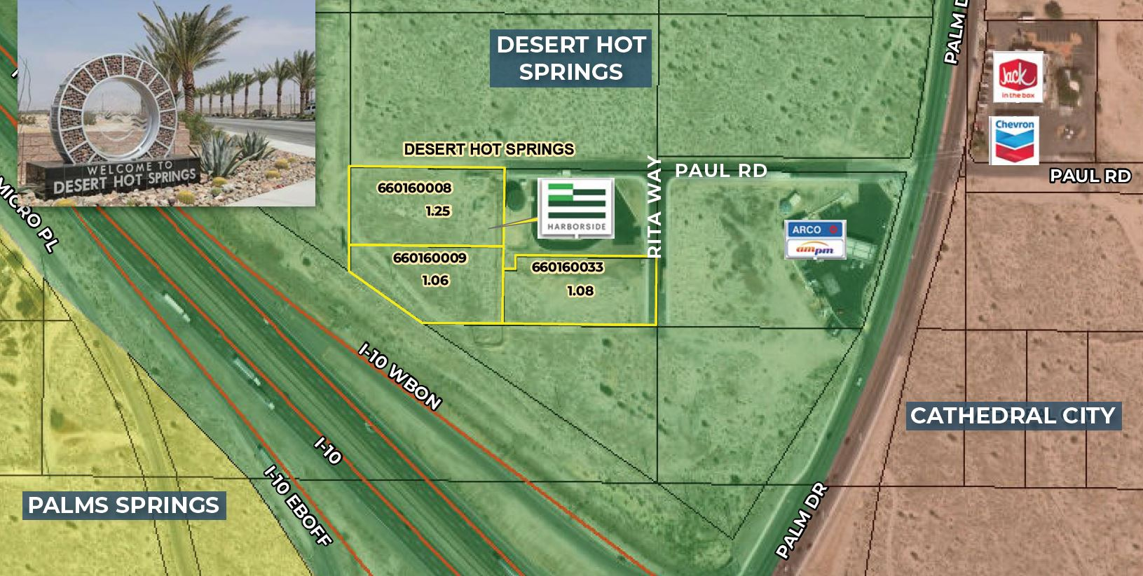 zoomed in map 1.06-3.39 ac highway commercial for sale at desert hot springs california