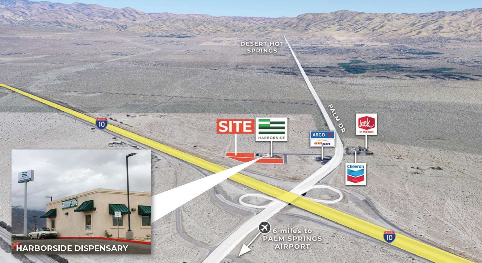 aerial image of 1.06-3.39 ac highway commercial for sale at desert hot springs california