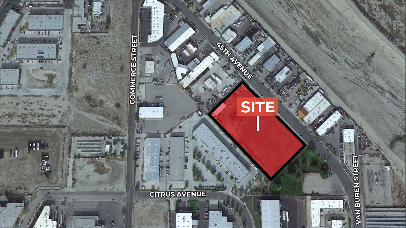 zoomed in aerial image of 3.72 acres industrial land for sale at avenue 45 indio california