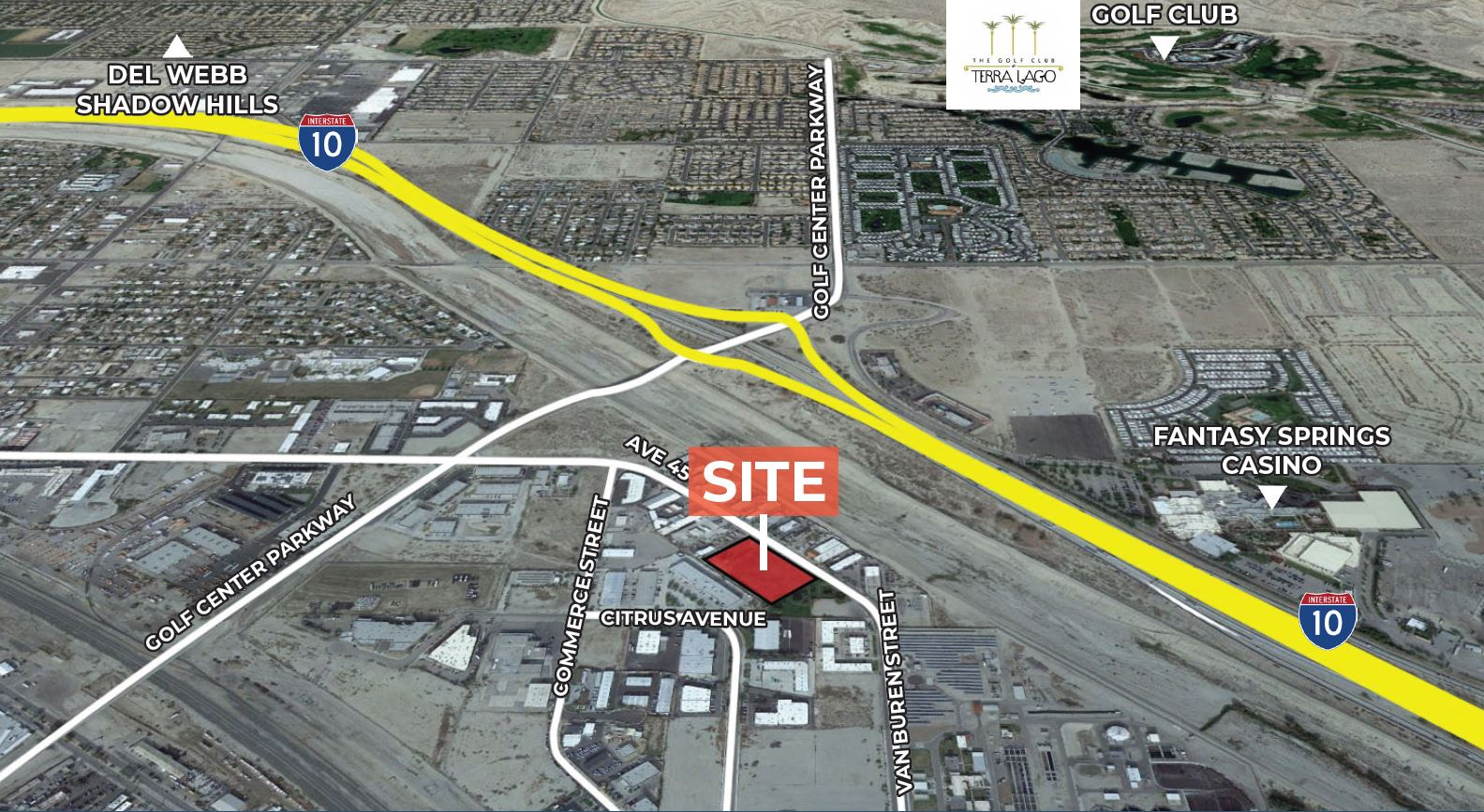 aerial image of 3.72 acres industrial land for sale at avenue 45 indio california