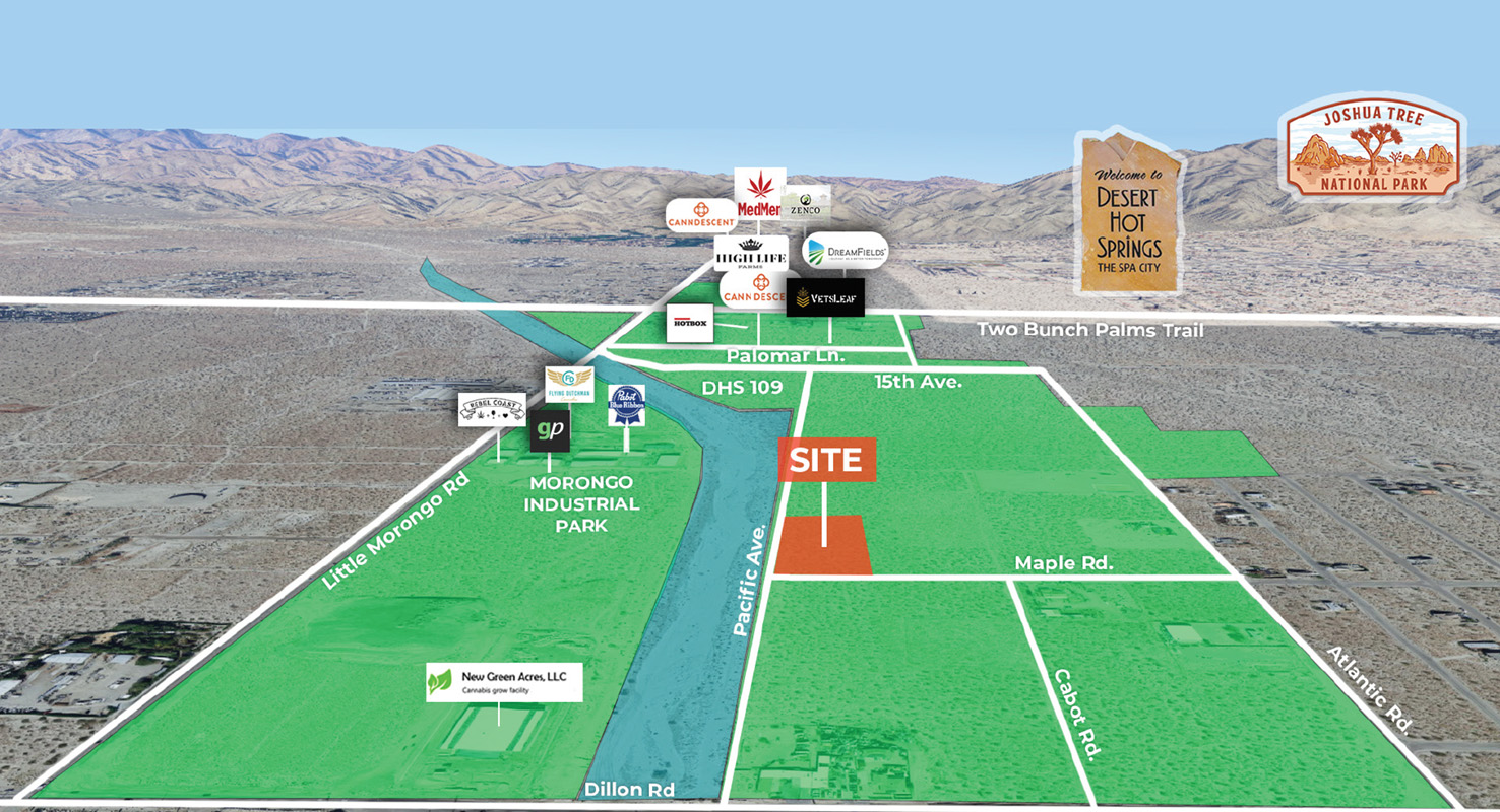 aerial image of 2.24 acres industrial land for sale at Desert Hot Springs California