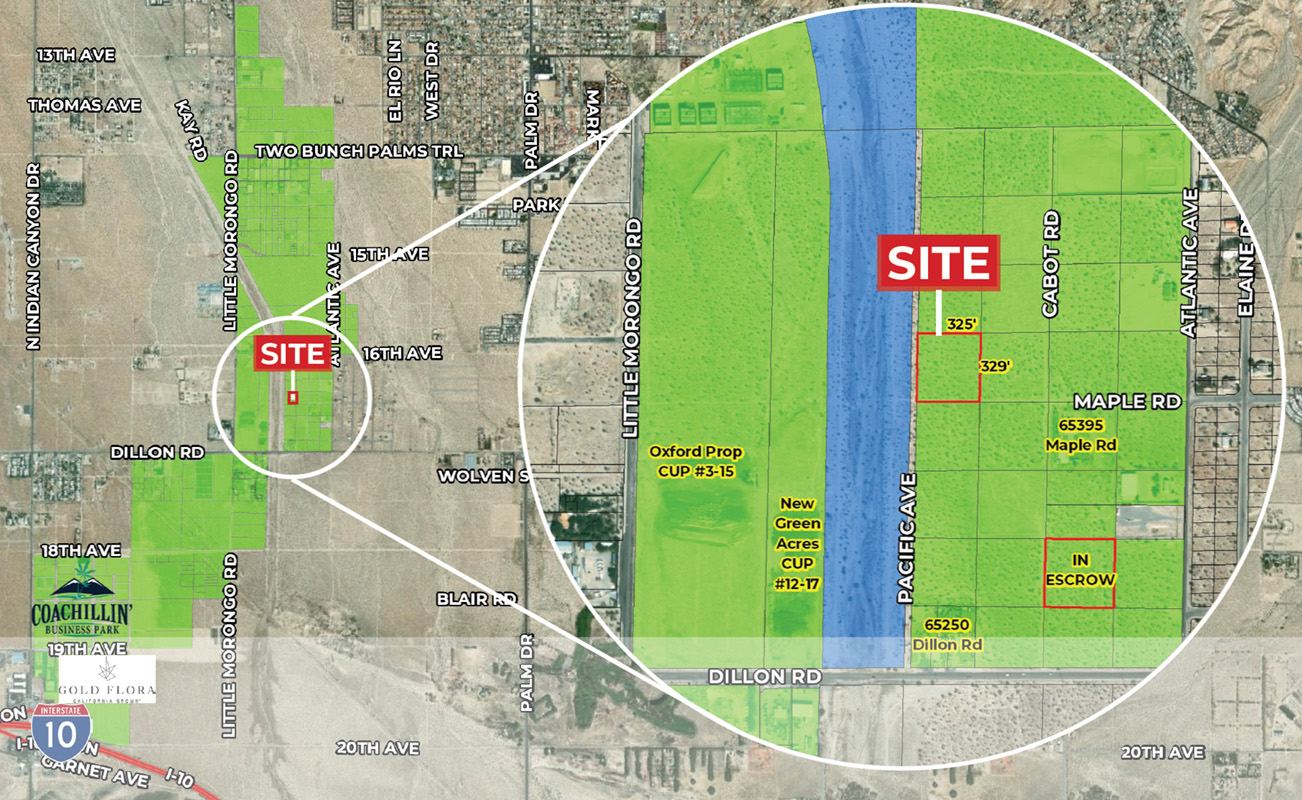 zoomed aerial image of 2.24 acres industrial land for sale at Desert Hot Springs California