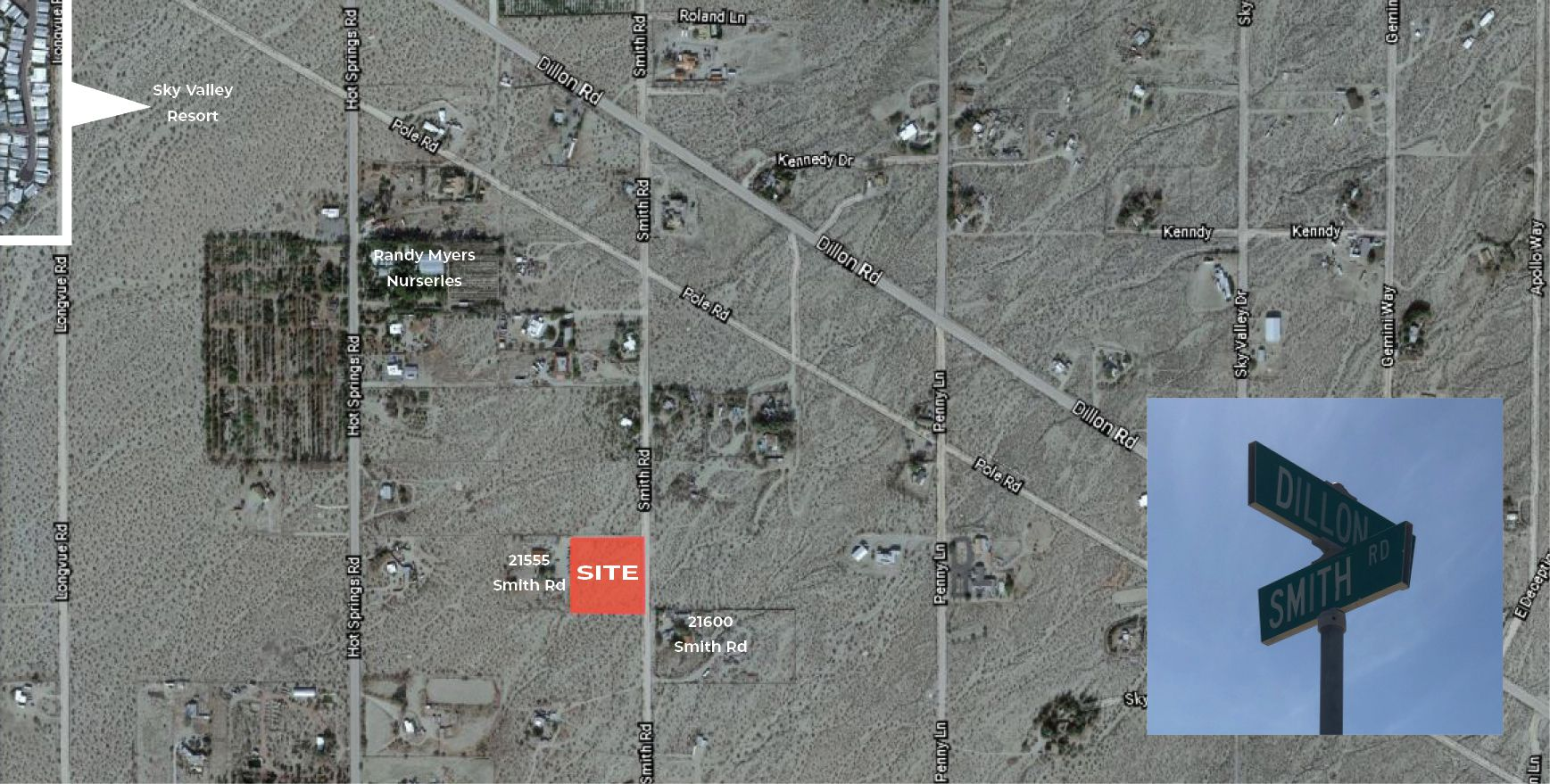 2.5 AC Smith Rd & Dillon Rd Sky Valley Zoomed Aerial